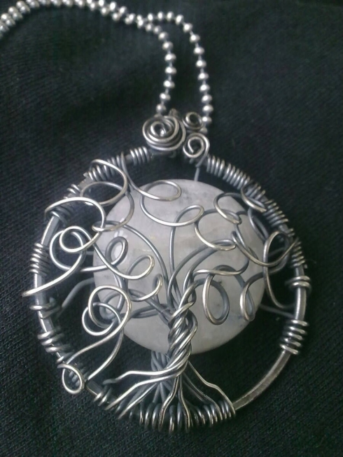 Colgante de Lunarie - Piedra luna y plata